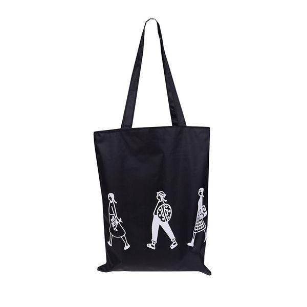 1 STÜCKE Weiß Schwarz Damen Tuch Leinwand Einkaufstasche Handgemachte Nylon Shopping Reise Frauen Falten Schulter Einkaufen Shopper Taschen