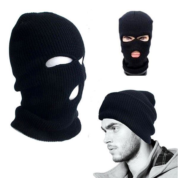 2019 New Hole Balaclava Full Face Cover Mask Three 3 Knit Hat Winter Snow Stretch mask Beanie Hat Cap New Black Warm Masks