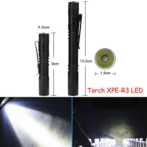 Pen shape lead flashlight torch XPE-R3 LED Mini Flashlight Ultra Bright Handy Penlight Torch Pocket Portable 1 Mode Lantern For Camping