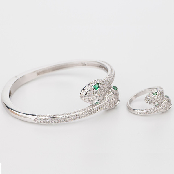 Natural Emerald Wedding Jewelry Sterling Silver Woman Elasticity Animal Bangle Snake Two 2 Head Open Bracelets