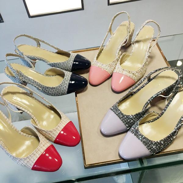 Designer Women Summer Pumps Shoes High Heels Slingback Beige Gray Black Two tone Leather Womens ladies luxury Sandals Size 34-40 mf190313