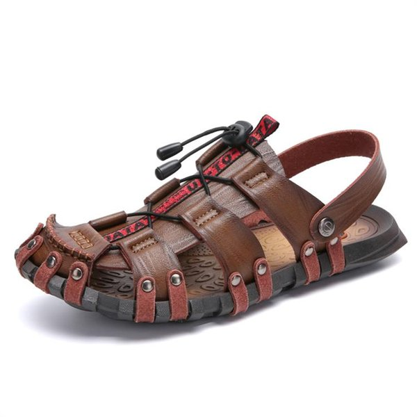 Hollow Out Men's Summer Sandals Casual Beach Shoes Slippers Slip On Leather Leisure Trend Shoes Soft Anti-Slip Big Size 38-47