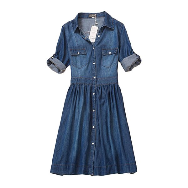 High Quality Autumn Denim Dress Clothing Plus Size Women Jeans Dress Elegant Spring Slim Cowboy Casual Dresses Vestidos Y19070801
