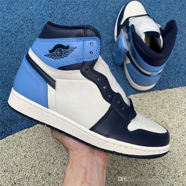 2019 Authentic Air 1 High OG Sail Obsidian University Blue 555088-140 39Jordan Basketball Shoes UNC 1 Sports Sneakers Original With Box