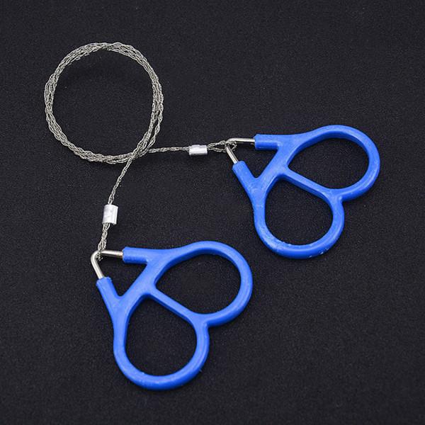 Bleu 65cm Acier Inoxydable Main Sangle Scie À Chaîne Portable Autodéfense Survival Outil De Coupe Camping Scie À Main