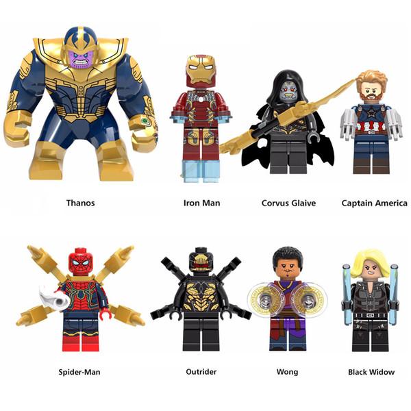 Super Hero Avengers Infinity War Thanos Iron Man Black Widow Wong Spider Man Corvus Glaive Captain America Mini Toy Figure Building Blocks