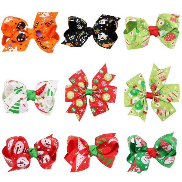 Christmas Baby Bow Barrettes 12 desenho impresso desenhos animados hallween arcos de cabelo Crianças Bow Headwear bebê Carneiras meninas grampos de cabelo 07