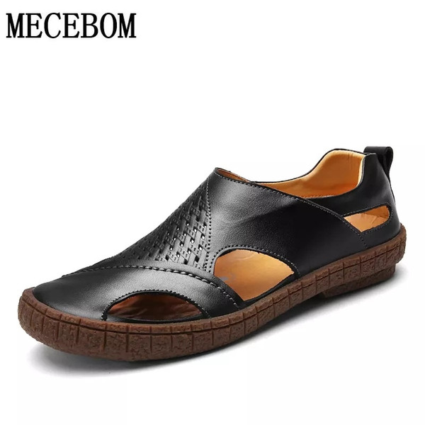 Men's Sandals new summer hollow out design beach sandals for male brown/black slip-on men leather shoes size 38-44 1838m #57065