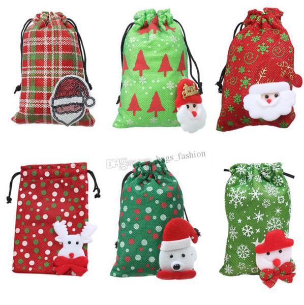 top popular Cartoon Design Large Christmas Gift Bag Home Party Decoration Vintage Drawstring Canvas Dinner Table Gift Bag Supplies 2019