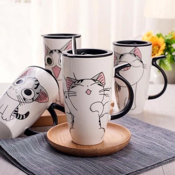600ml Cute Cat Ceramics Mug With Lid Large Capacity Animal Mugs Creative Drinkware Coffee Tea Cups Novelty Gifts Milk Cup Q190606