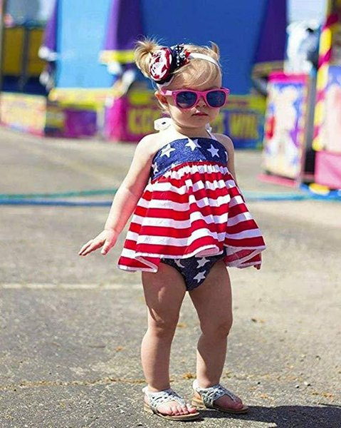 Forth of July Baby girl clothes Halter Top+PP shorts National Independence Day Outfit Special Occasions clothes Flag 2019 DHL