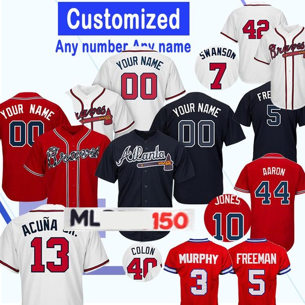 Atlanta Braves Homens Jerseys 13 Ronald Acuña Jr 13 Ronald Acuña Jr 3 Dale Murphy 7 Dansby Swanson 10 Chipper Jones Baseball Jerseys