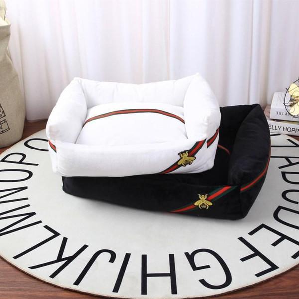 Marque de luxe Abeilles Couchette douce Solide Couleur Niche Teddy sommeil doux et chaud Lit Puppy Cat Mat Pad Maison Fournitures pour chien S -XL nouveau style
