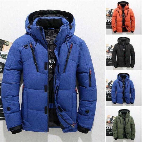 Abajo con capucha caliente Escalada pato chaqueta de esquí de la nieve del invierno capa de los hombres de gran tamaño