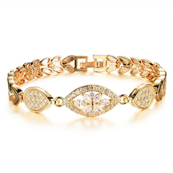 Diamond Charm Bracelets 18k Gold Trendy Wheat Leaves Romantic Shining Iced Out Designer Bride Jewelry For Women Wedding Statement Bracelet