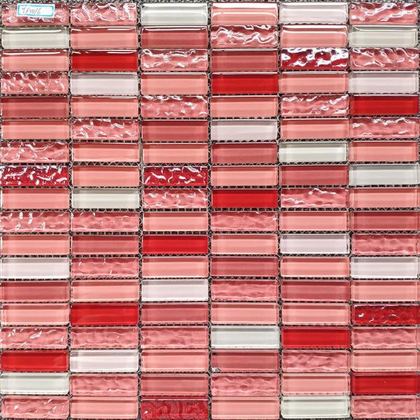 Strip красный розовый белый стеклянная мозаика кухня плинтус плитка JMFGT059 стекло плитка стены ванной комнаты