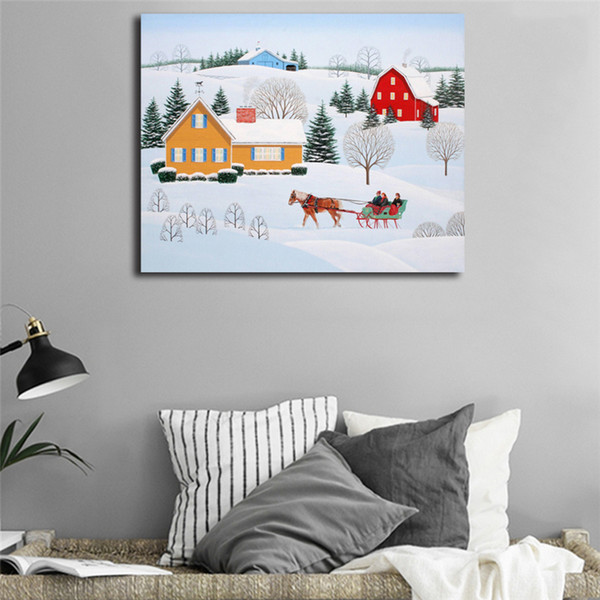 Christmas Snow Landscape Oil Paintings Canvas Modern Art Decorative Wall Pictures For Living Room Home Decoration