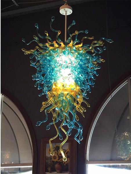 Lampadario in vetro soffiato a mano in stile francese Lampadario blu e ambra di arte a colori per l'arredamento della hall dell'hotel