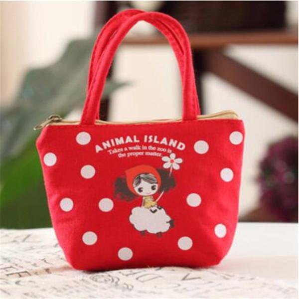 New Korean Pula Girl Portable Porte-monnaie Imprimé Bande Dessinée Toile Coin Bag Lady Zip Bourse Dollar Money Bag Carteira
