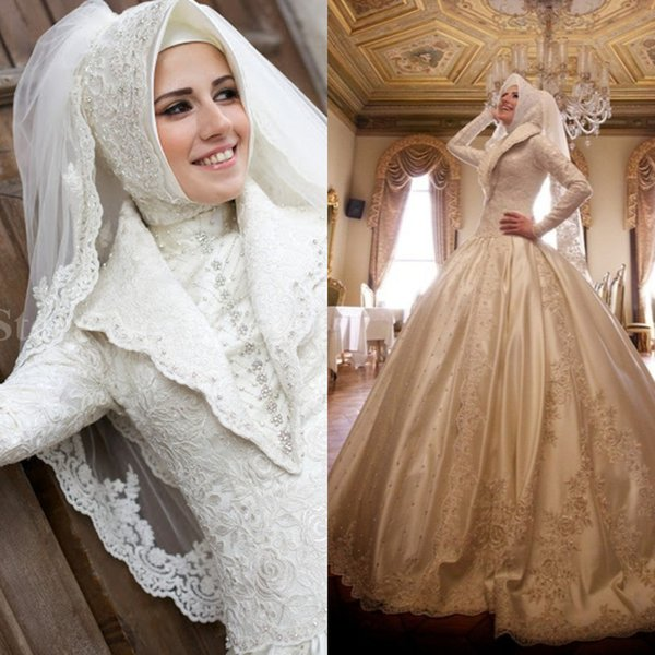 Luxury Muslim Ball Gown Wedding Dresses High Collar Beaded Lace Full Sleeves Saudi Arabia Bridal Dress Traditional Middle East Wedding hijab