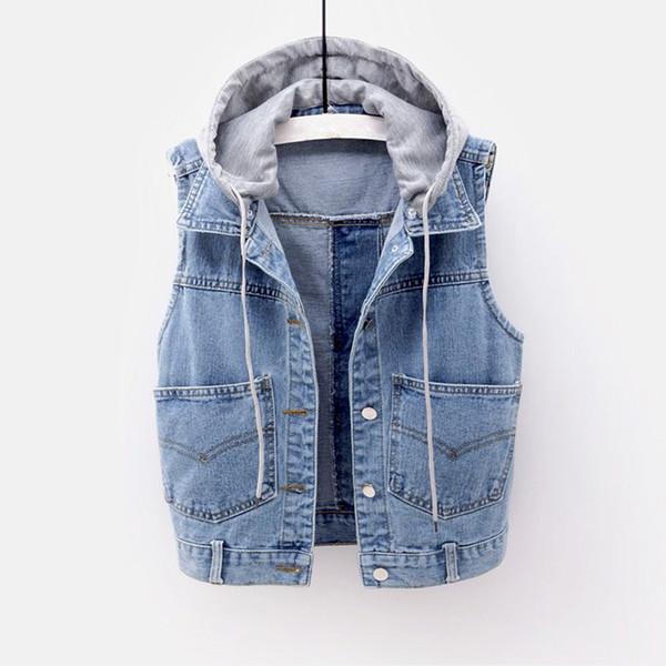 detachable cap hooded women's denim vest sleeveless female singlebreast slim women jean vests autumn 2019 casual lady waistcoat