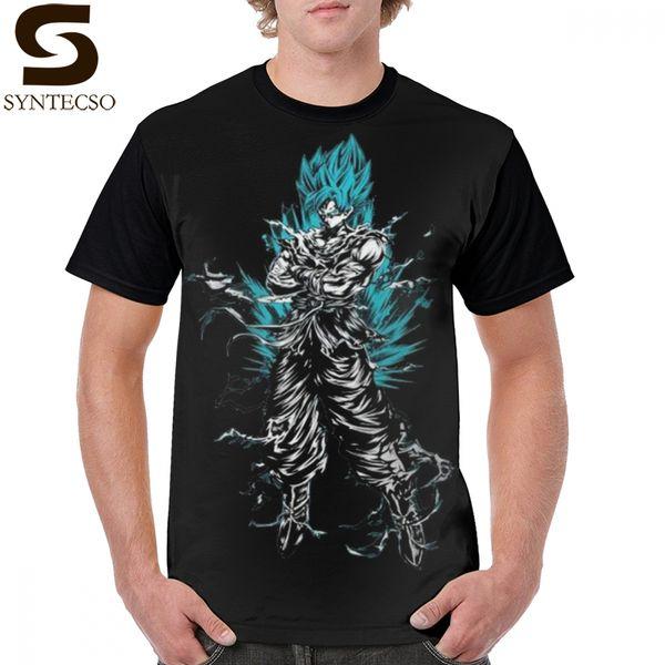 Z Футболка Super Goku Ультра-инстинктивная футболка с принтом Симпатичная футболка с рисунком Футболка с короткими рукавами для мужчин