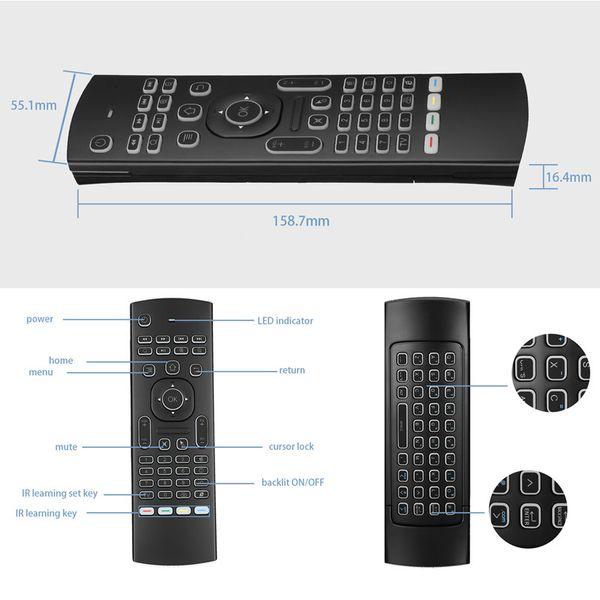 2,4 G Fly Air Mouse Wireless MX3 Fernbedienung Tastatur für Android Smart TV Box T95Z Plus / X96 Mini-Projektor