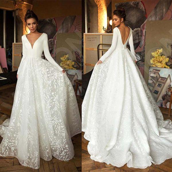 Robe De Mariee Vintage Long Sleeve Lace Satin Wedding Dress Sexy