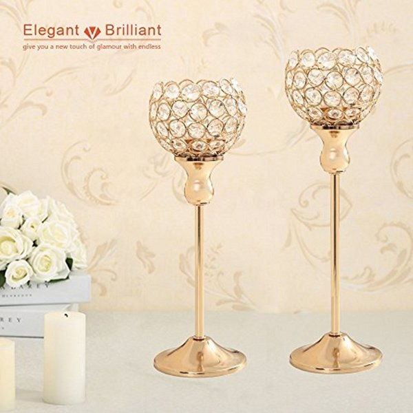 Wedding Table Centerpieces Home Decoration Metal Glass Votive Crystal Candle Tealight Holders Candlesticks Stands Party Gift