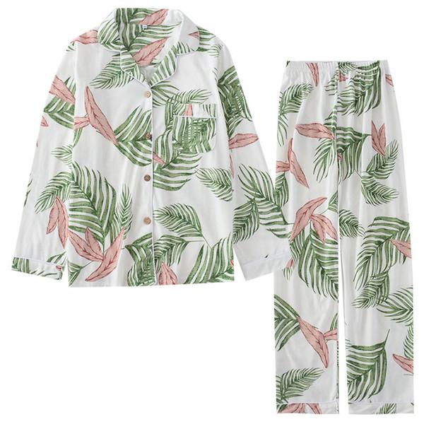Primavera e Verão 2019 Novo Algodão Pijama Mulheres Pijama de Manga Longa Definir Impressão De Malha Pijama Mujer Loungewear Roupas Em Casa