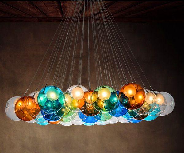 Boule de verre coloré G4 LED lustre lampe 3 ~ 31 têtes de sphères de verre lumière moderne lustre en cristal de couleur bulle LED pour la salle de vie