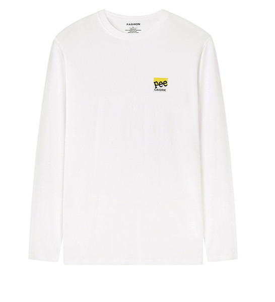 2019 мужских дизайнера футболки осень и зима новой длинного рукава рубашки мужчины шея дно рубашка свободного свитер хлопка верхней DHBOMC204