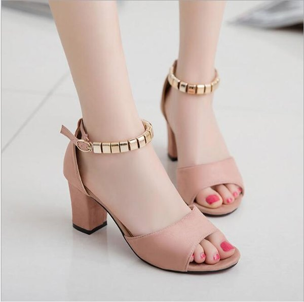 2019 summer one buckle Roman thick heel with Korean version high heel sandals go with casual shoes fish mouth high heel women