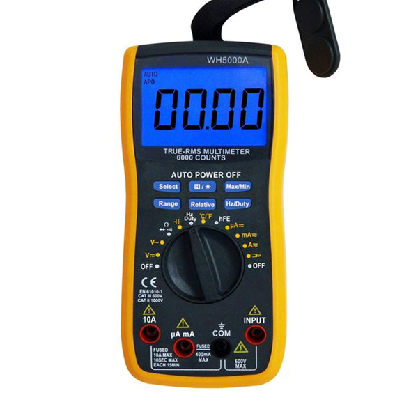Handheld Voltage Digital Multimeter With Backlight Magnetic Automatic Raging LCD Display High Accuracy Household Use For WH5000A