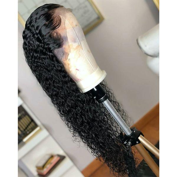 Livraison Gratuite Noir Lâche Bouclés Synthétique Avant de Lacet Perruque Bébé Cheveux Vague D'eau Résistant À La Chaleur Fibre De Cheveux Moitié À La Main Attachés Perruques Pour Les Femmes