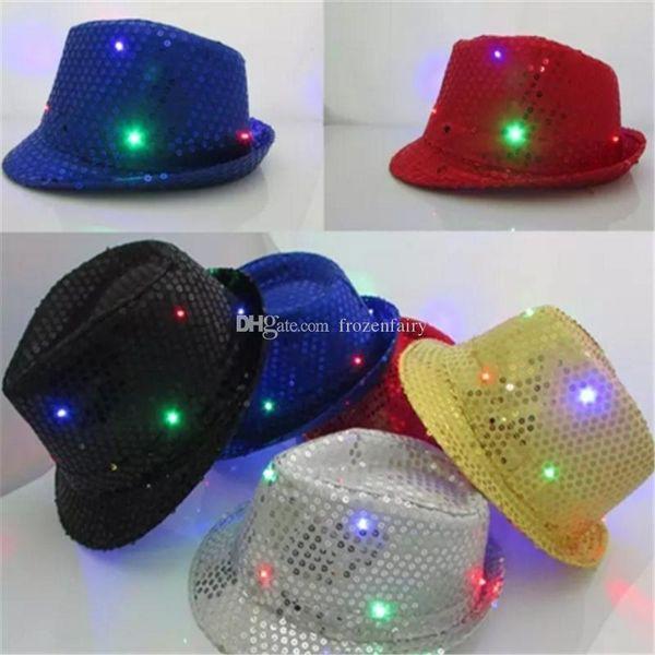 LED Jazz Hats Flashing Light Up Led Fedora Trilby Sequins Caps Fancy Dress Dance Party Hats Men Women Christmas Festival Carnival a675-a682
