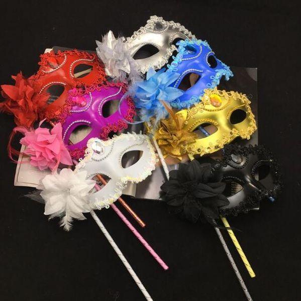 NUOVA maschera da donna di lusso su stick Sexy Eyeline Maschera veneziana in maschera per feste Paillettes Bordo in pizzo Fiore laterale Oro Argento Nero Bianco H087