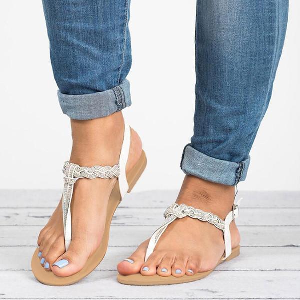 Yaz Sandalet Kadın 2019 Moda Kristal Düz Sandalet Bayan Ayakkabı Büyük Boy Plaj Rahat Sandale Femmes