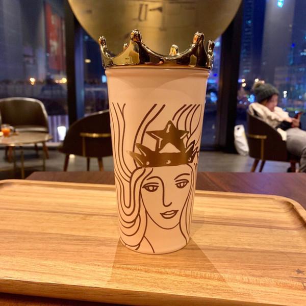 Authentic Starbucks Mermaid Goddess Rose Gold Crown Coffee Cup 2018 Anniversary Double Ceramic Mug 355ml With Golden Cover Buy Custom Mugs Buy
