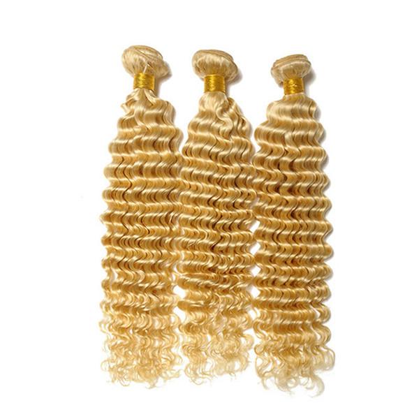 Deep Wave 613 Bleach Blonde Human Hair Weaves Brazilian Virgin Hair Extensions Deep Curly Blonde Hair Weft 3Pcs/Lot