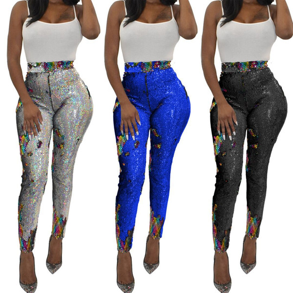 Womens Leggings Womens Slim Colorful Leggings Nightclub Sequined Jogging Solid Color Pants Trousers Sexy Leggings Track Pants Size S-3XL