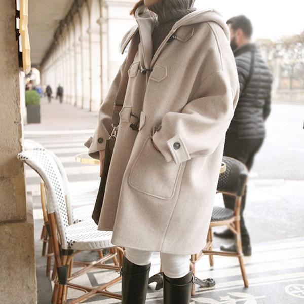 Новая осень женская с капюшоном пальто шерстяные смеси пальто Рог кнопка верхняя одежда пальто C4937