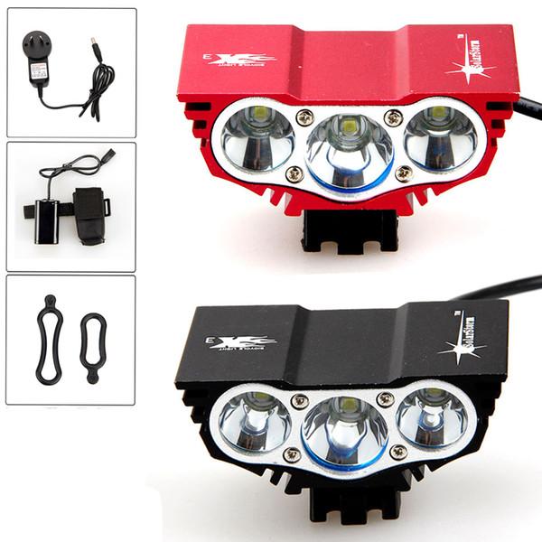 Бесплатная доставка 6000 Люмен 3x XM-L U2 LED Передняя Головка Велосипеда Фара Лампа Свет Фары 6400 мАч Аккумулятор с Зарядным Устройством