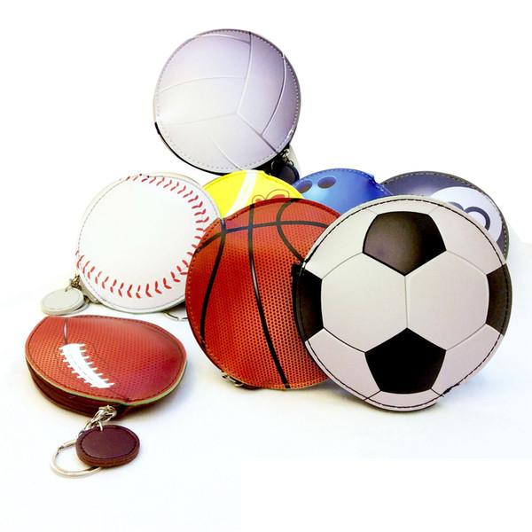 Basketball Keychains Coin Purse Baseball Football Coin Bags Cartoon Wallet PU Sports Pocket Change Money Bag Key Card Holder GGA1890