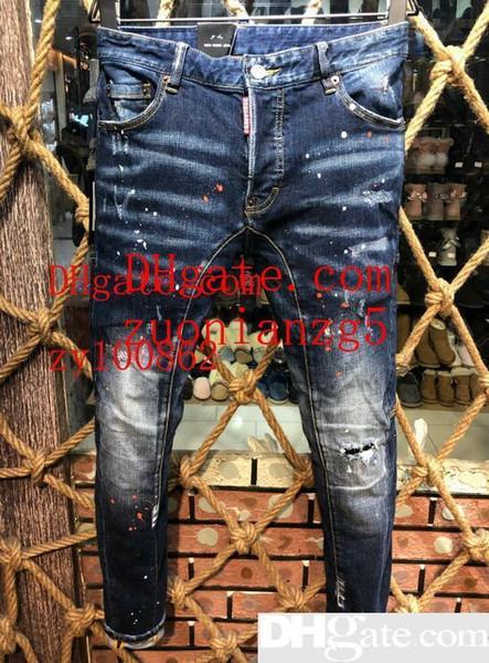 2019 Sıcak Satmak Erkekler s Denim Biker Jean Nakış Pantolon Delik Rahat Kot Düğmesi Pantolon D2 Uzun Pantolon A222