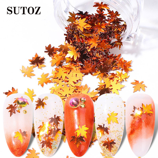 best selling Nail Art Glitter Sequins Autumn Maple Leaf Nail Stickers Decoration Spangle Flakes Beauty Tools Gradient Shiny Light Nails Sequins