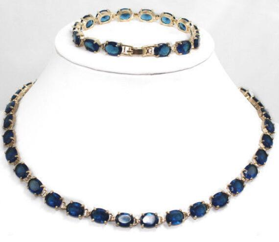 real silver-jewelry Women's Wedding charm New Design Blue stone gem Bracelet & Necklace Jewelry Set