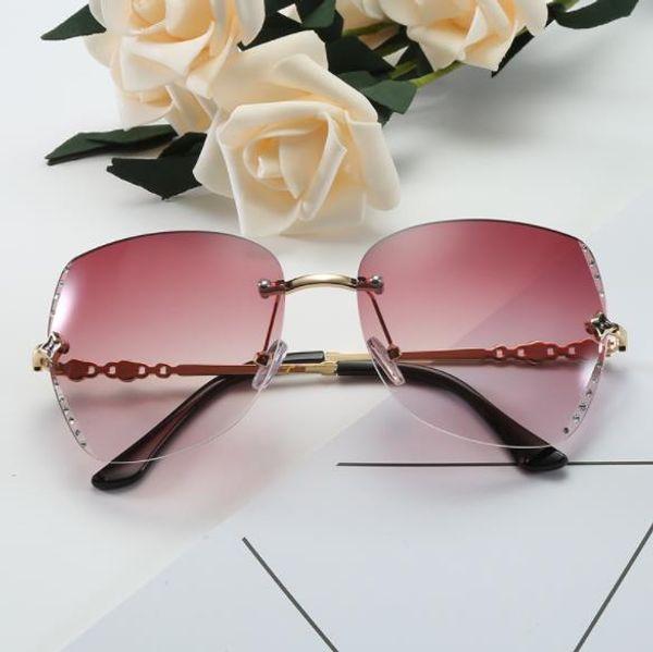 Frauen Dame Brillen Vier-Blatt-Klee-Diamant-Spiegel Sonnenbrille Metallrahmen Brillen Sonnenbrille Mode Gesicht weibliche Modelle hohe CZ206