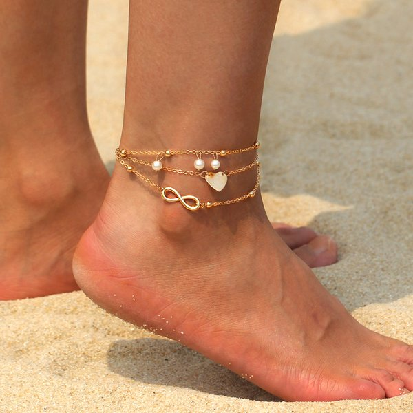 Pulsera de tobillo atractivo único para el tobillo con el pie para la joyería de las mujeres sandalias descalzas Rosette perla colgante de la correa del tobillo del pie de Bohemia