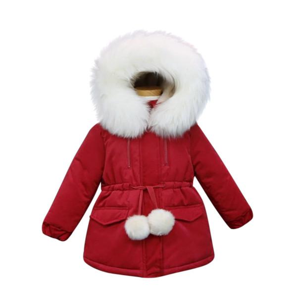 2018 Yeni çocuk Kapşonlu Kalın coat Kış kızlar Uzun Kollu Dış Giyim çocuklar Kürk yaka ceket C3297